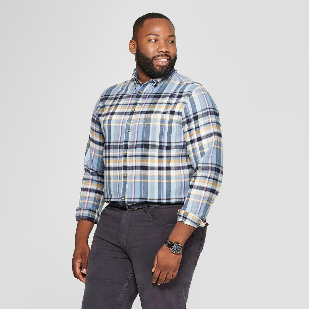 Men's Tall Plaid Standard Fit Long Sleeve Pocket Flannel Button-Down Shirt - Goodfellow & Co Alaskan Blue Xlt
