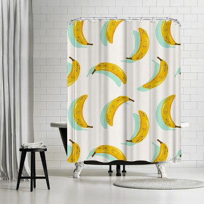 """Americanflat Mint Banana Pattern by Cat Coquillette 71"""" x 74"""" Shower Curtain"""