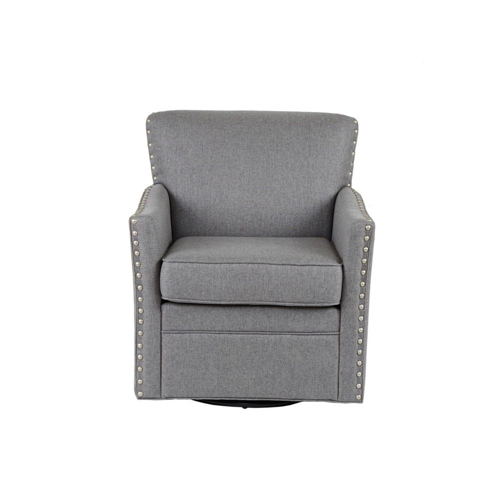 Medora Herringbone Texture Swivel Chair Light Gray