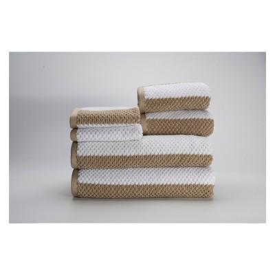 6pc Rugby Stripe Beige Bath Towels Sets - Caro Home