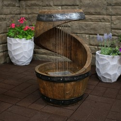 "24"" Spiraling Barrel Outdoor Water Fountain with LED Lights - Sunnydaze Decor"