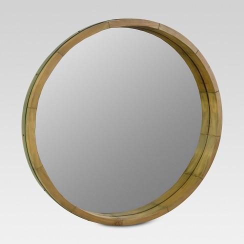 Round Decorative Wall Mirror Wood Barrel Frame Threshold Target