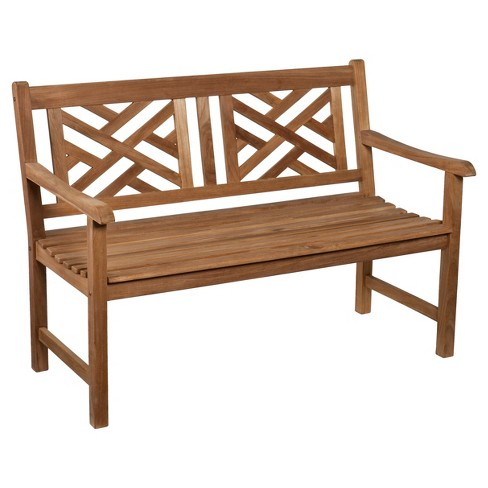Henry Teak Chippendale 4' Bench -Natural - Aiden Lane - image 1 of 3