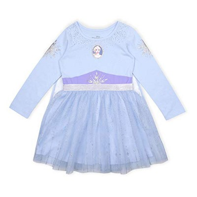 Disney Frozen II Girl's Elsa Long Sleeve Princess Dress Up Outfit with Cape - Blue, Size 5