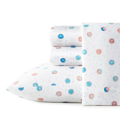 Queen Printed Pattern Percale Cotton Sheet Set Donuts - Poppy & Fritz
