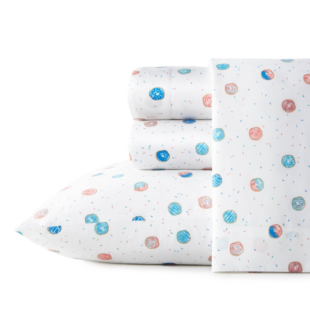 Queen Printed Pattern Percale Cotton Sheet Set Donuts Poppy 38 Fritz