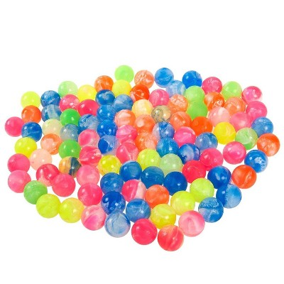 """Juvale 100-Pack Mini Bouncy Balls Toys Party Favors, Marble Assorted Neon Colored, 0.73"""" in Diameter"""