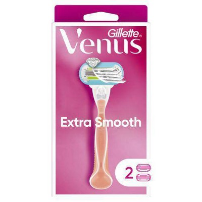 Venus Extra Smooth Pink Women's Razor + 2 Razor Blade Refills