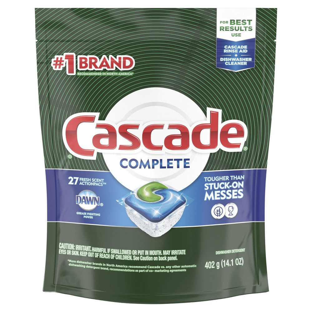 Cascade Complete ActionPacs, Dishwasher Detergent - Fresh Scent - 27ct Cascade Complete ActionPacs dishwasher detergent powers away even 24 hour stuck on messes for a complete clean. That is because every Cascade Complete ActionPacs dishwasher detergent is formulated with the grease fighting power of Dawn. Cascade Complete ActionPacs dishwasher detergent is tougher than baked on messes. For best results, use with Cascade Rinse Aid and Cascade Dishwasher Cleaner. Cascade Complete ActionPacs dishwasher detergents are easy to use because they require no pre measuring. Cascade Complete ActionPacs dishwasher detergent dissolves quickly to unleash cleaning power early in the cycle.