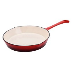 Hamilton Beach 10 Inch Enameled Coated Solid Cast Iron Frying Pan Skillet, Red