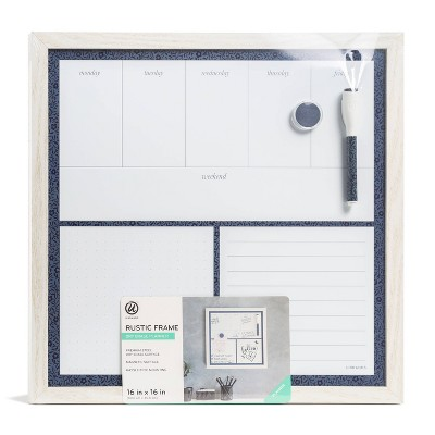 "U Brands 16""x16"" Magnetic Dry Erase Planner Board Rustic White Frame"
