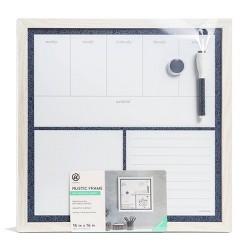 "UBrands 16"" x 16"" Magnetic Dry Erase Planner Board - Rustic White Frame"