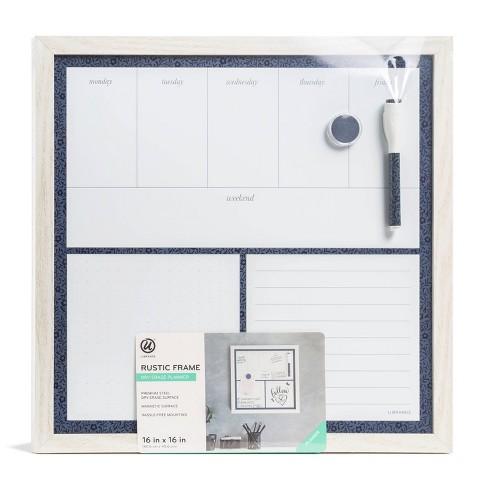 "16"" x 16"" Magnetic Dry Erase Planner Board - Rustic White Frame - U-Brands - image 1 of 4"