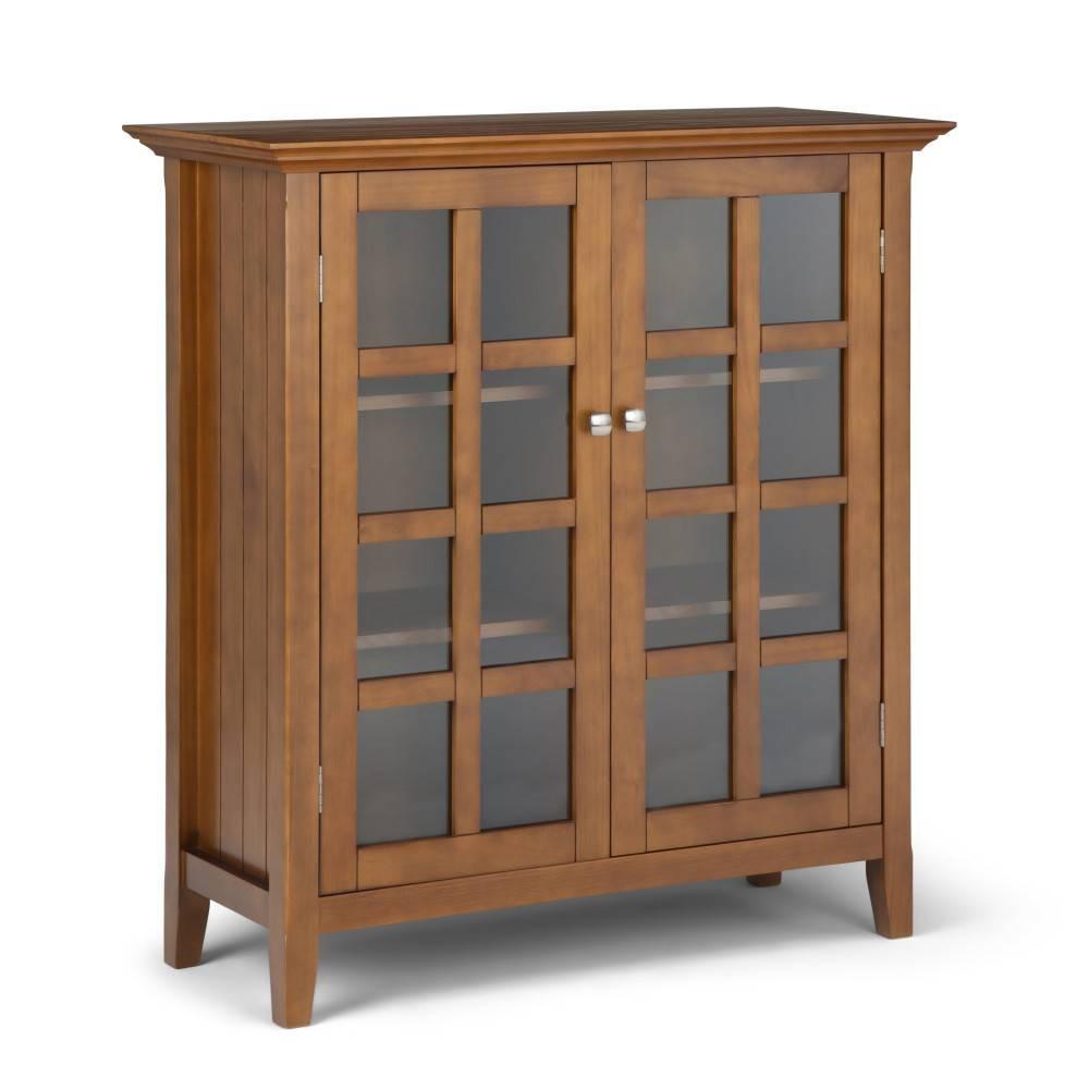 Normandy Solid Wood Medium Storage Cabinet Light Golden Brown Wyndenhall