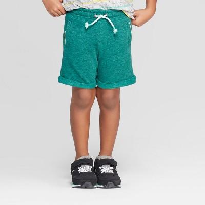 Toddler Boys' Novelty Roll Hem Leisure Shorts - Cat & Jack™ Heather Green 18M