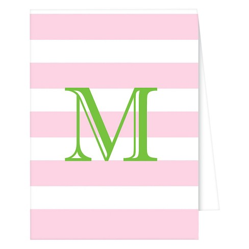 """M"" Monogram Cabana Stripe Note Cards Collections Light Pink - image 1 of 1"