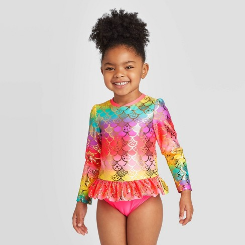 Toddler Girls' Mermaid Scales Zip-Up Long Sleeve One Piece Rash Guard Swimsuit - Cat & Jack™ Pink - image 1 of 3