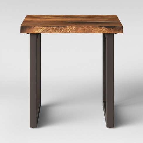Thd Wood Top End Table With Metal Legs Brown Project 62