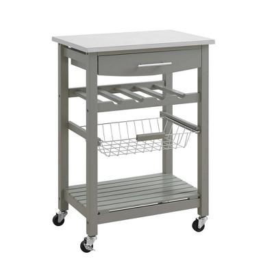 Clarke Kitchen Cart Gray - Linon