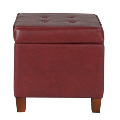 Square Shape Leatherette Upholstered Wooden Ottoman with Tufted Lift Off Lid Storage Red - Benzara