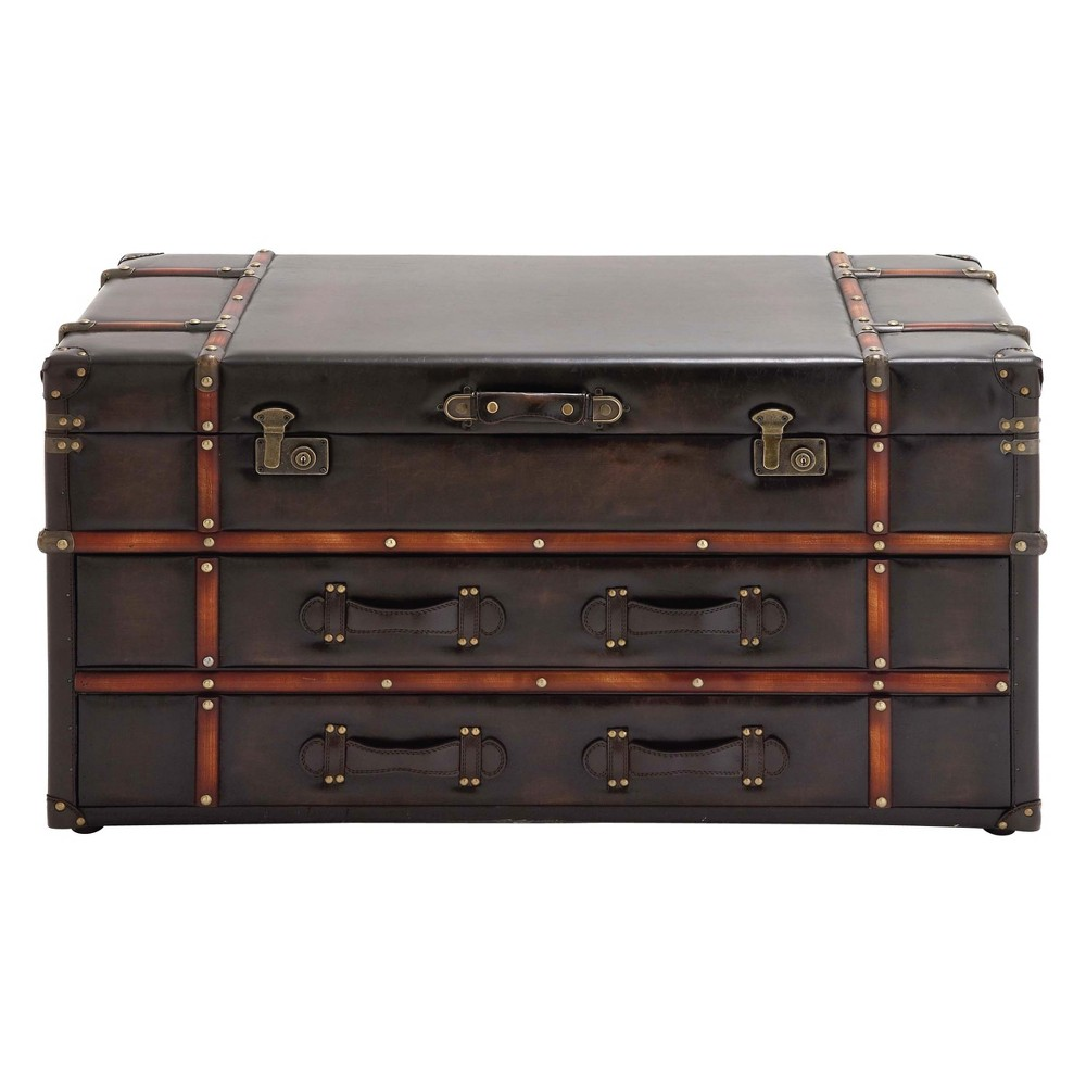 Image of Wood and Leather Trunk Coffee Table Brown - Olivia & May