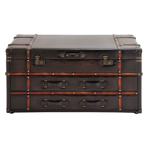 Wood And Leather Trunk Coffee Table Brown Olivia May