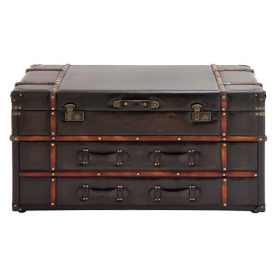 Wood And Leather Trunk Coffee Table Brown   Olivia U0026 May