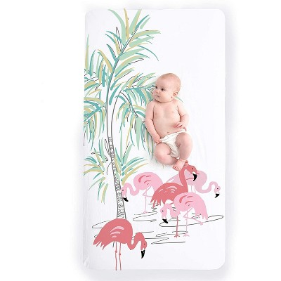 JumpOff Jo Fitted Crib Sheet - Cotton Crib Sheet for Standard Sized Crib Mattresses - Hypoallergenic and Breathable - 28 x 52 Inches - Flamingo Family