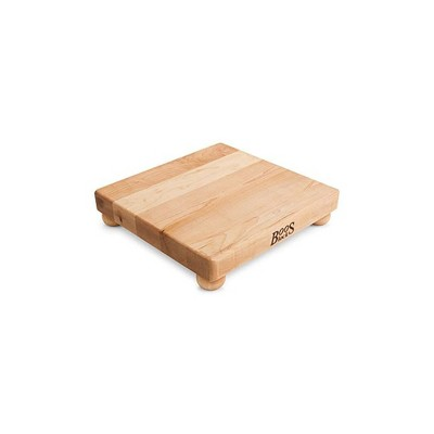 John Boos 12 Inch Wide 1.5 Inch Thick Flat Carving Cutting Board with Bottom Feet, 12 x 12 x 1.5 Inches, Maple Wood