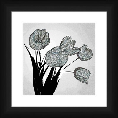 """13"""" x 13"""" Matted to 2"""" Unique Tulips Picture Framed Black - PTM Images"""