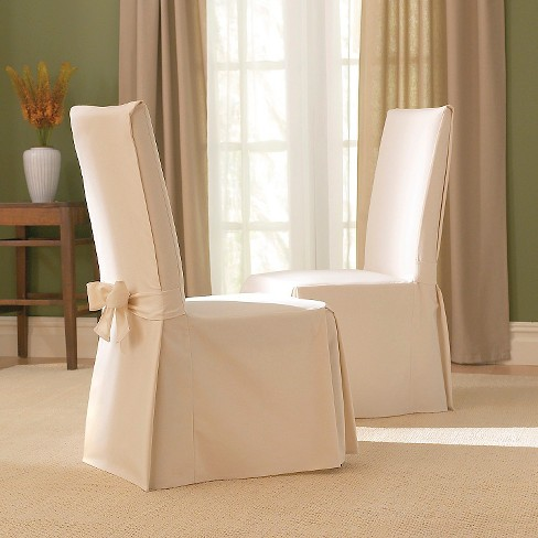 Dining Room Chair Slipcovers Cheap cotton duck long dining room chair slipcover - sure fit : target