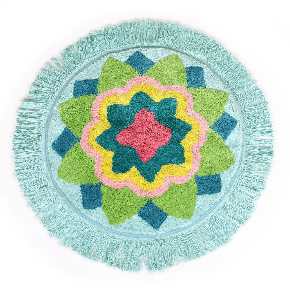 Image of Ariel Medallion Bath Rug Green - Allure Home Creation