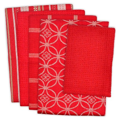 Dishtowel & Dishcloth Set Of 5 Red - Design Imports
