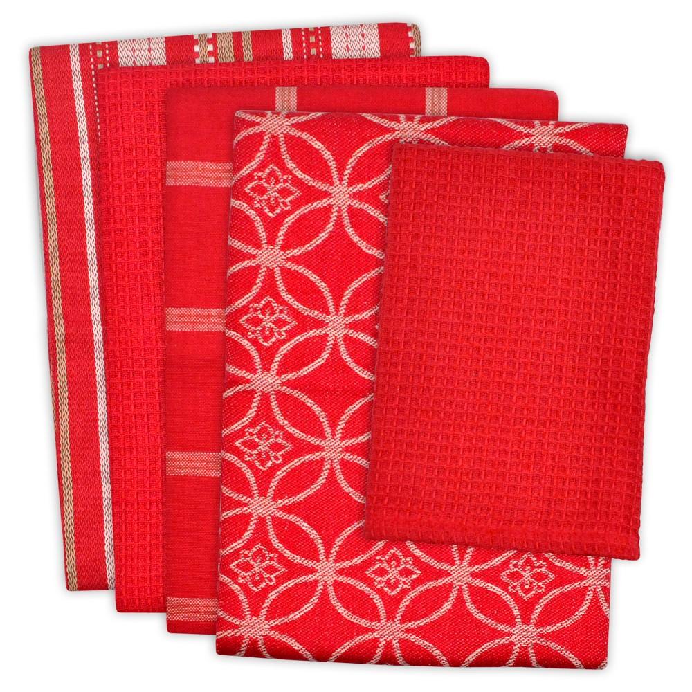 Dishtowel & Dishcloth Set Of 5 Red - Design Imports