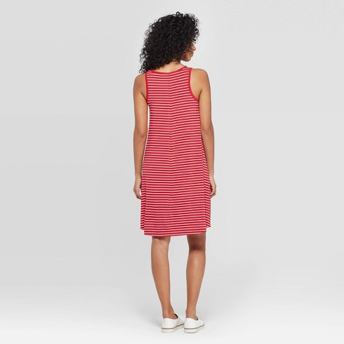 01cd3bccc6687f Women's Striped Regular Fit Sleeveless Round Neck Knit Tank Dress - A New  Day™ Red XS