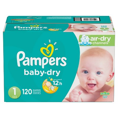 Pampers Baby Dry Diapers Super Pack Size 1 - 120ct