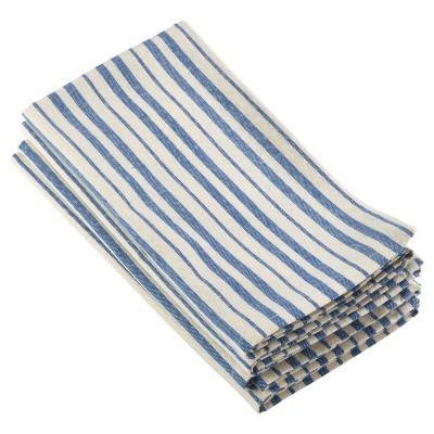 4pk Blue Dauphine Striped Design Napkin 20  - Saro Lifestyle®
