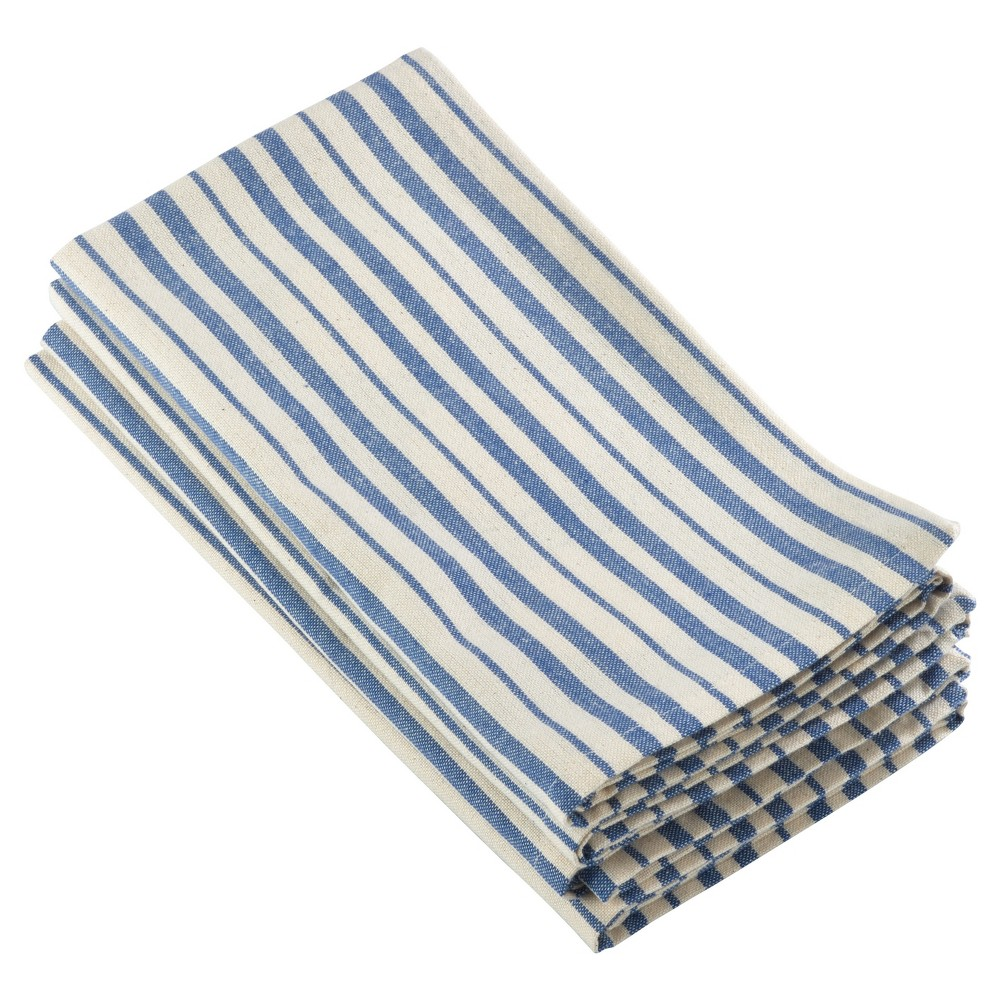 "Image of ""4pk Blue Dauphine Striped Design Napkin 20"""" - Saro Lifestyle"""