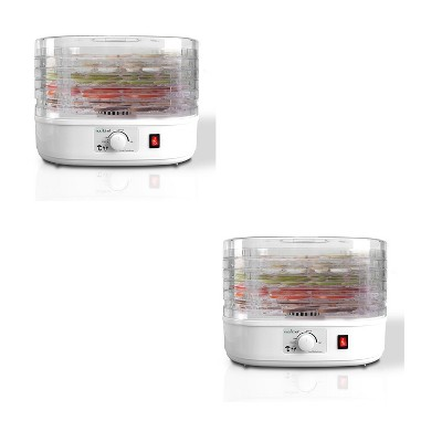NutriChef PKFD06 Kitchen Countertop Electric Food Dehydrator Preserver Machine with Adjustable Temperature Control and 5 Stackable Tray Racks (2 Pack)