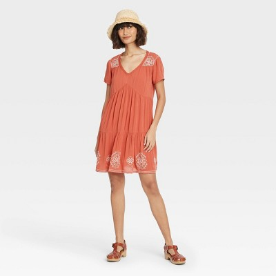 Women's Short Sleeve Embroidered Dress - Knox Rose™