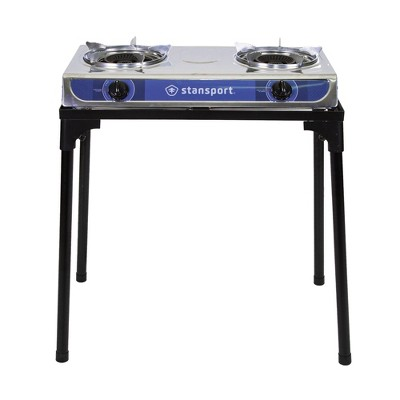 Stansport Stainless Steel Double Burner Stove With Stand