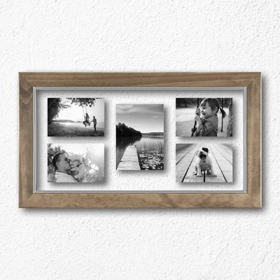 "10"" x 20"" Wood and Metal Edge Multiple Image Frame Natural - Threshold™"