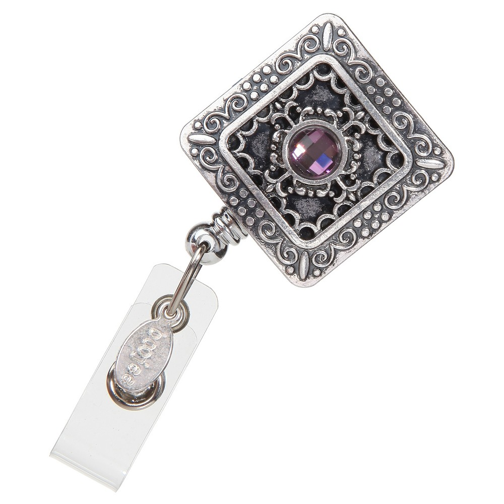 Image of BooJee Badge Reel Vintage Square, Size: Small, Silver