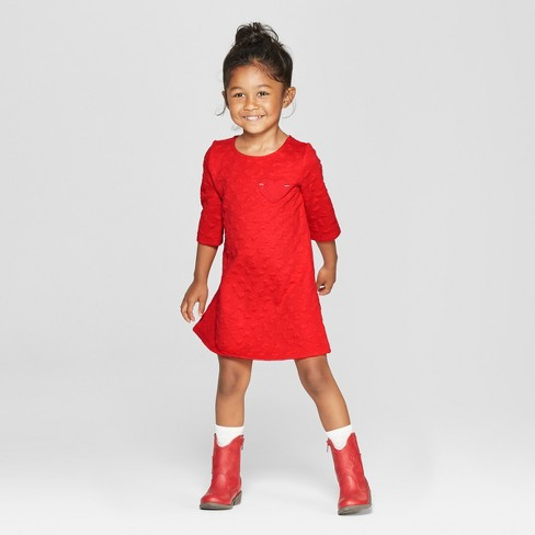 Toddler Girls' 3/4 Sleeve Heart Jacquard A-Line Dress - Cat & Jack™ Red - image 1 of 3