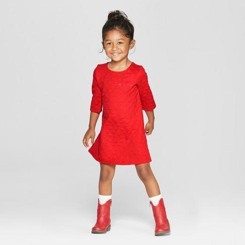 toddler girls 3 4 sleeve heart jacquard a line dress cat jack