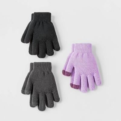 Girls' 3pk Gloves - Cat & Jack™ Black/Purple/Gray