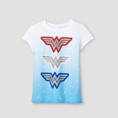 Girls' Wonder Woman Americana Short Sleeve Graphic T-Shirt - White