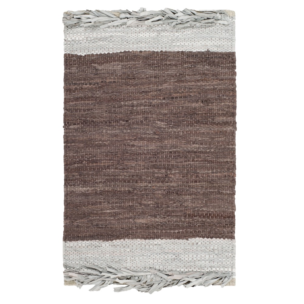Light Gray/Dark Brown Color Block Woven Area Rug 5'X8' - Safavieh