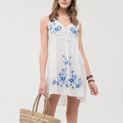Mine Fashion Women's Ladies Sleeveless Woven Dress