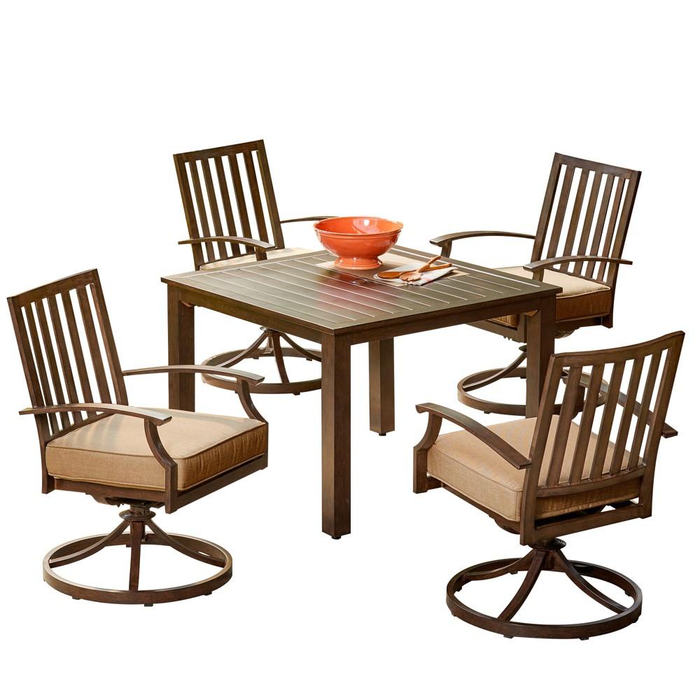 5pc Bridgeport Swivel Dining Set Tan - Royal Garden